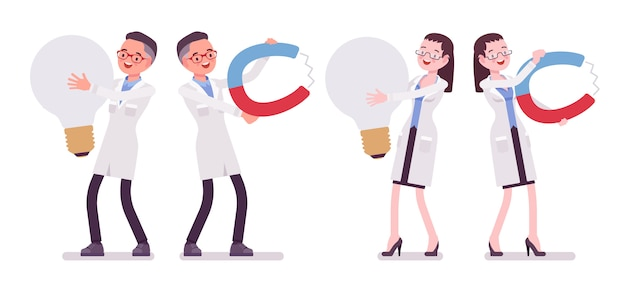 Male and female scientist and giant things