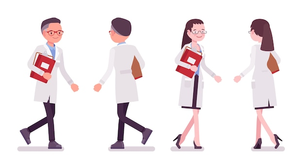 Male and female scientist walking