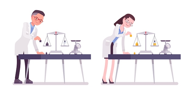 Male and female scientist weight measuring. expert of physical or natural laboratory in white coat research. science and technology.   style cartoon illustration , white background