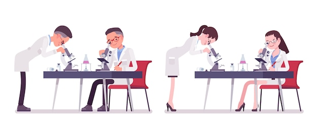 Male and female scientist with microscope. expert of physical or natural laboratory in white coat at research. science and technology.   style cartoon illustration , white background