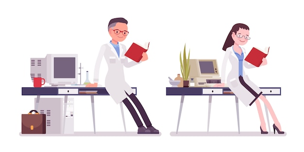 Male and female scientist working