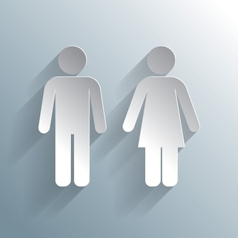 Male female silhouetted figures wc icon
