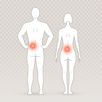 Male and female silhouettes with pain circles on the transparent background.