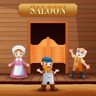 Male and female standing in front of saloon