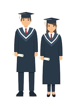 Male and female student posing after graduation ceremony