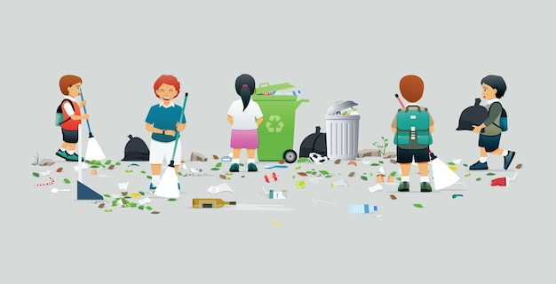 Male and female students help to clean and collect trash Premium Vector