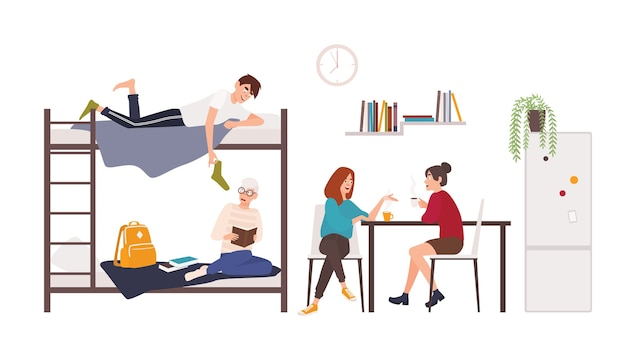Male and female students spending time in college dormitory room.