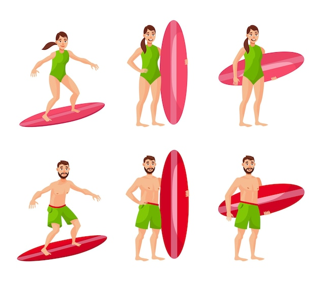 Male and female surfers in different poses. man and woman in cartoon style.