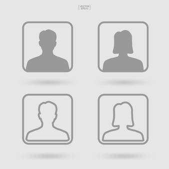 Male and female symbol. human profile icon or people icon. man and woman sign and symbol. vector illustration.