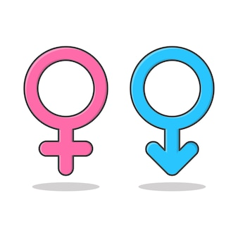 Male and female symbols vector icon illustration. gender symbol pink and blue flat icon