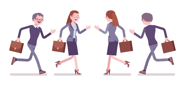 Male and female teacher running