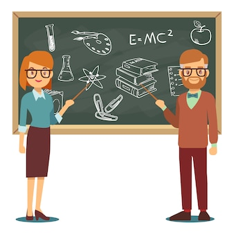 Male and female teachers standing in front of blank school blackboard vector illustration