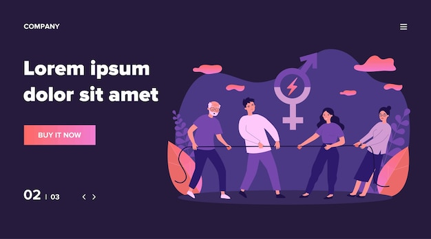Male and female teams pulling rope. tug-of-war, competition, different ages and generation   illustration. gender equality, contest concept for banner, website  or landing web page