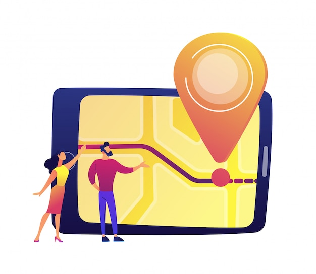 Male and female users looking at tablet screen with map and location pin vector illustration.