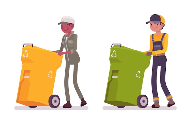 Male and female waste collectors in uniform pushing trash bins