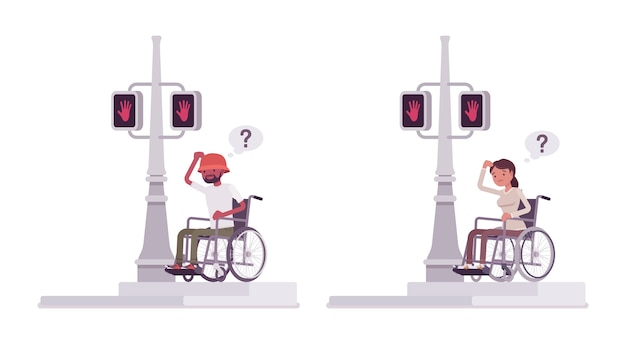 Male and female wheelchair user bumping into traffic light pole