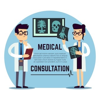 Male and female young doctors diagnosis - medical consultation