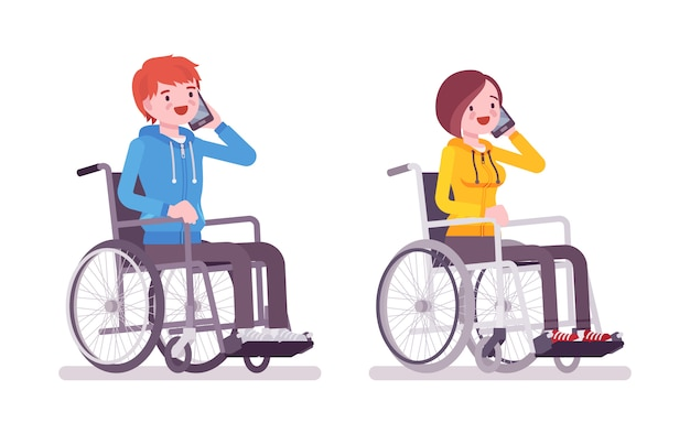 Male and female young wheelchair user phonetalking