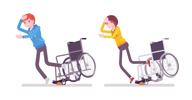 Male and female young wheelchair user tripping over