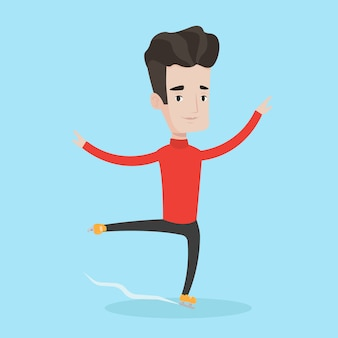Male figure skater vector illustration.