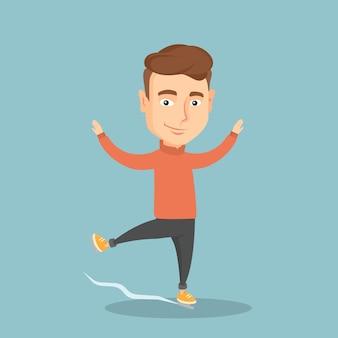 Male figure skater vector illustration.