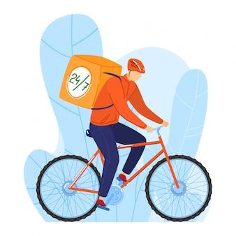 男性食品配達人キャラクターバイクに乗って、24、7、白、漫画イラストに分離された食事の供給を表現します。男は自転車を使用します。