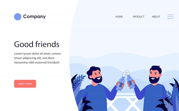 Male friends drinking beer on balcony outside. website template or landing page