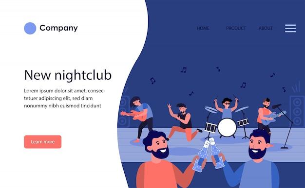 Male friends drinking beer in nightclub. website template or landing page
