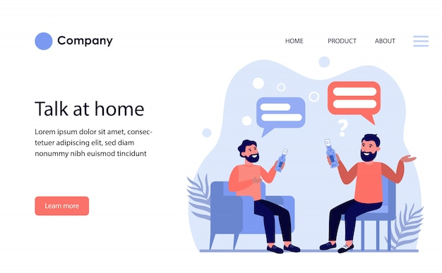 Male friends drinking beer and talking at home. website template or landing page