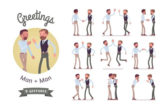Male friends greeting set