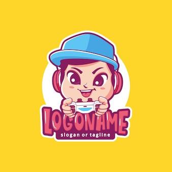 男性ゲーマーマスコットロゴ