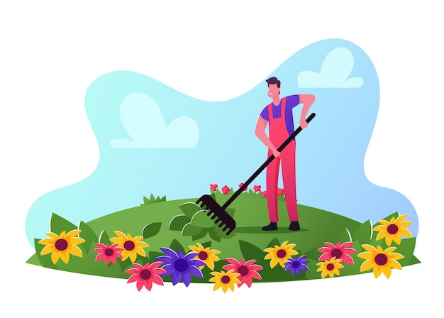 Персонаж мужского пола садовника носить рабочие комбинезоны уход за цветами на поле грабли