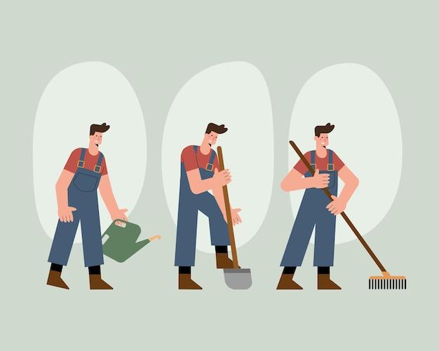 활동을 연습하는 남성 정원사 캐릭터