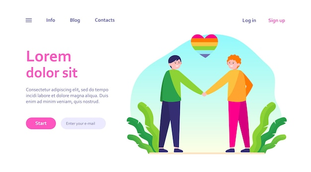 Male gay couple with rainbow heart. cheerful men holding hands web template.
