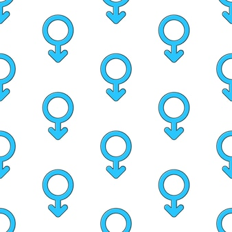 Male gender symbol seamless pattern on a white background. gender theme vector illustration