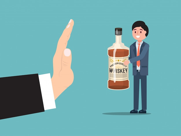 Male gesture stop alcohol consumption, man drunk character hold bottle whiskey isolated on blue,   illustration.