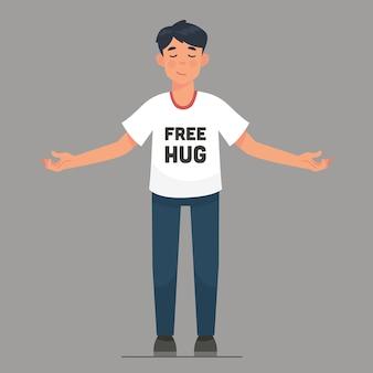 男性の男は皆のための無料の抱擁を提供