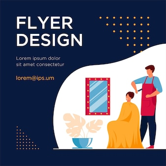 Male hairdresser brushing hair of woman. hair stylist with comb, female customer, workplace flat flyer template