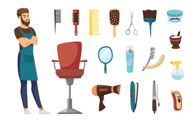 Personaggio da parrucchiere maschile per set di illustrazioni per bambini