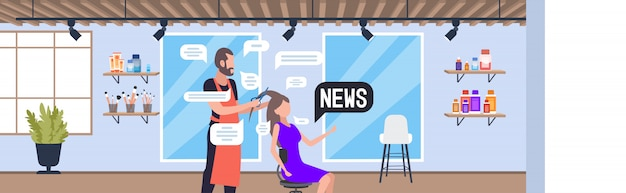 남성 미용사 여성 클라이언트의 머리 팁을 절단하고 매일 뉴스 채팅 거품 통신 개념을 논의합니다. 뷰티 살롱 인테리어 가로 세로 그림