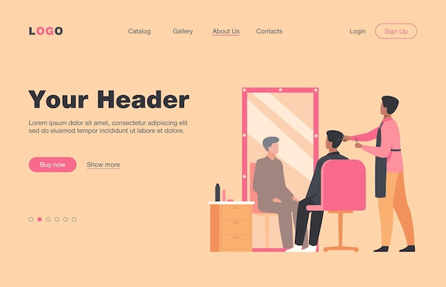 Male hairdressing beauty salon interior isolated flat  landing page. cartoon stylist or beautician cutting client hair in barbershop. appearance and beauty concept