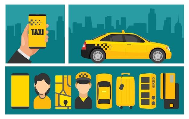 Мужская рука держать телефон с интерфейсом на экране службы такси бронирования. плоские векторные иллюстрации. шаблон для плаката, инфографики, значка, баннера, презентации, мобильного приложения. фон панорама города