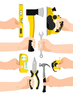 Male hand hold working tool isolated on white,   illustration. man arm carry instrument, pliers axe level ruler spanner and jigsaw.