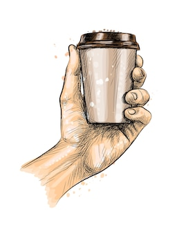 Male hand holding a coffee paper cup from a splash of watercolor, hand drawn sketch.  illustration of paints