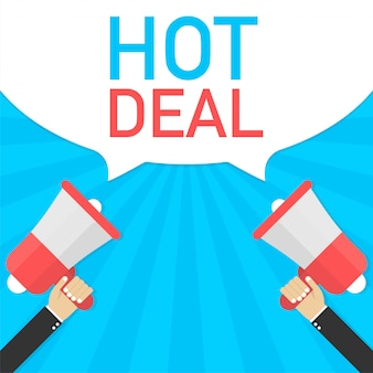 Male hand holding megaphone with hot deal speech bubble. banner business