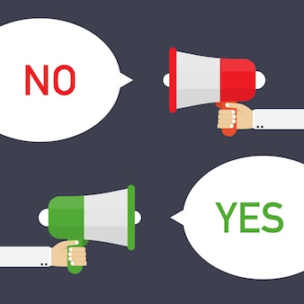 Male hand holding megaphone with yes and no speech bubble.