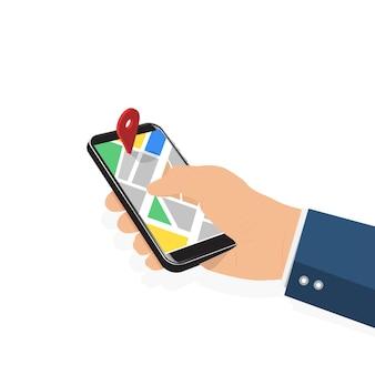 地図とポインターと電話を持っている男性の手。モバイルgpsナビゲーションと追跡の概念。ウェブサイト、バナーのフラットベクトルイラスト。タッチスクリーンスマートフォンの位置追跡アプリ