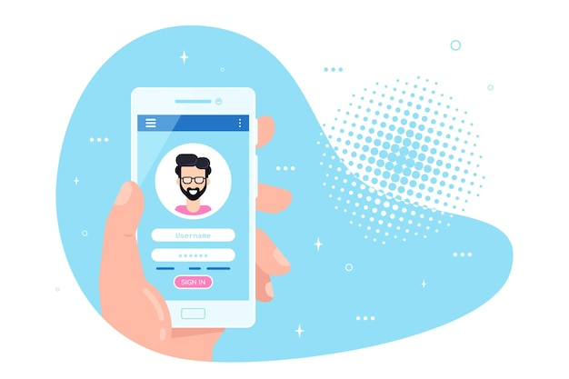 画面上のログインとパスワードフォームページでスマートフォンを持っている男性の手。アカウントへのサインイン、ユーザー認証、ログイン認証