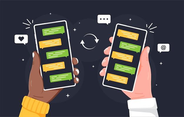画面ベクトルフラットイラストにメッセージチャートとスマートフォンを持っている男性の手