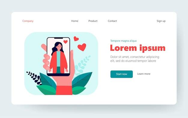 Male hand holding smartphone with woman photo. love, heart, phone flat vector illustration. social media and digital technology concept for banner, website design or landing web page